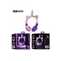 Наушники проводные с ушками и светящимся рогом (KR-6900)